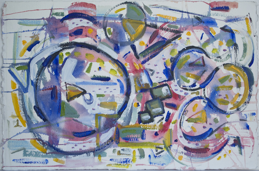 "Cubist Still Life 3  2004 15"" x 23"" Acrylic and Watercolor Pencil on Paper"
