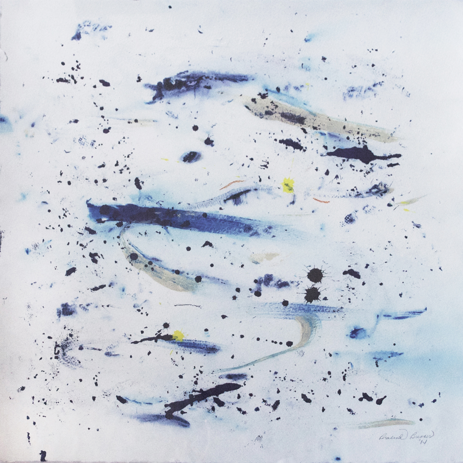 "Blues  2014 29.875"" x 29.875"" Liquid Watercolor and Acrylic on Paper"