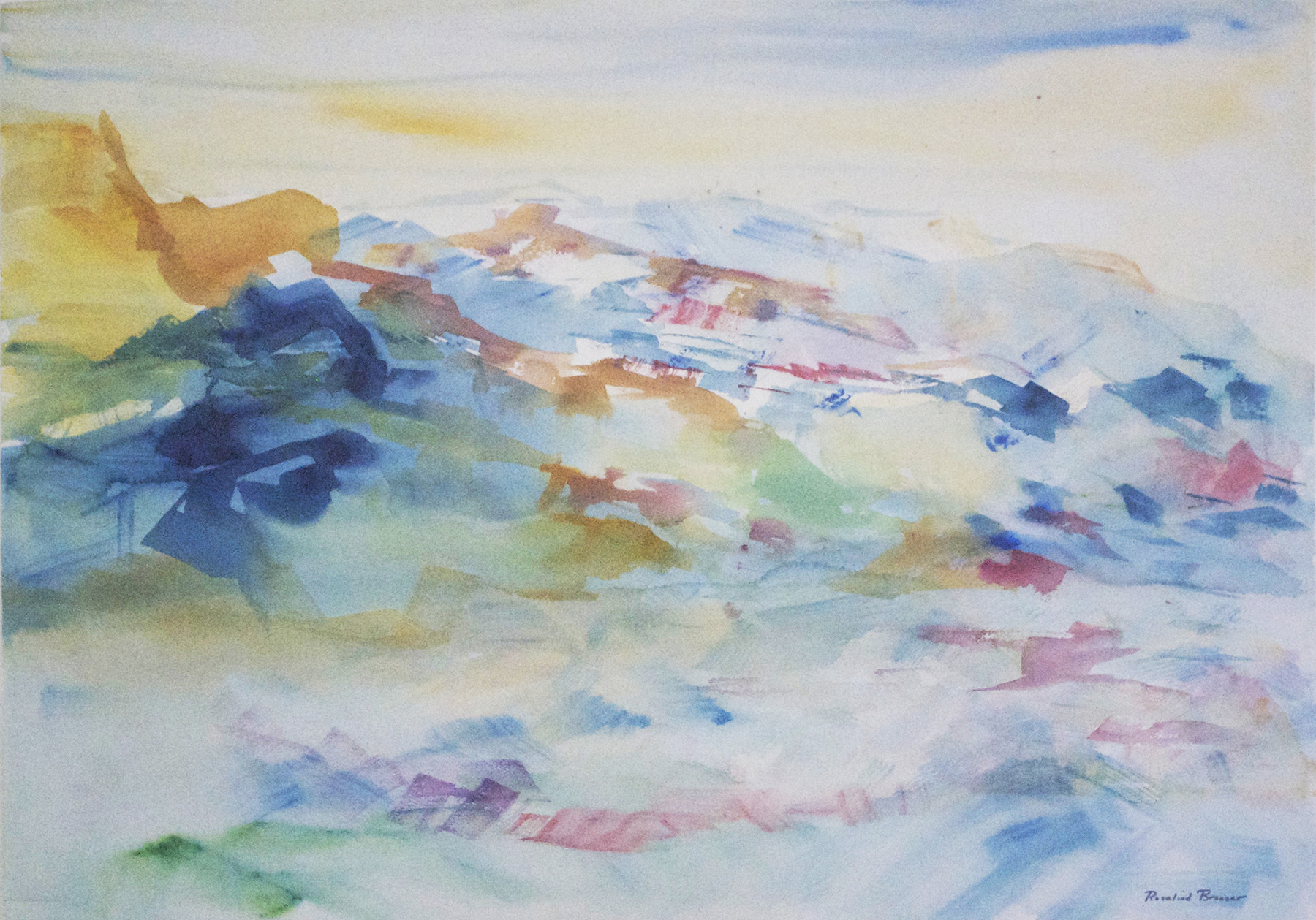 "Abstract Landscape  2002 30.375"" x 37.75"" Watercolor on Paper"