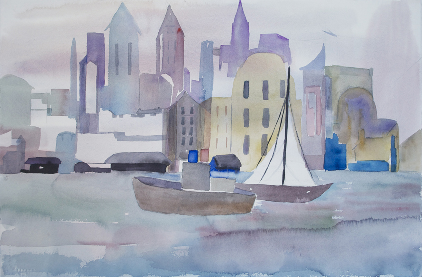 "Cityscape Riverview  1997 15"" x 22.25"" Watercolor on Paper"