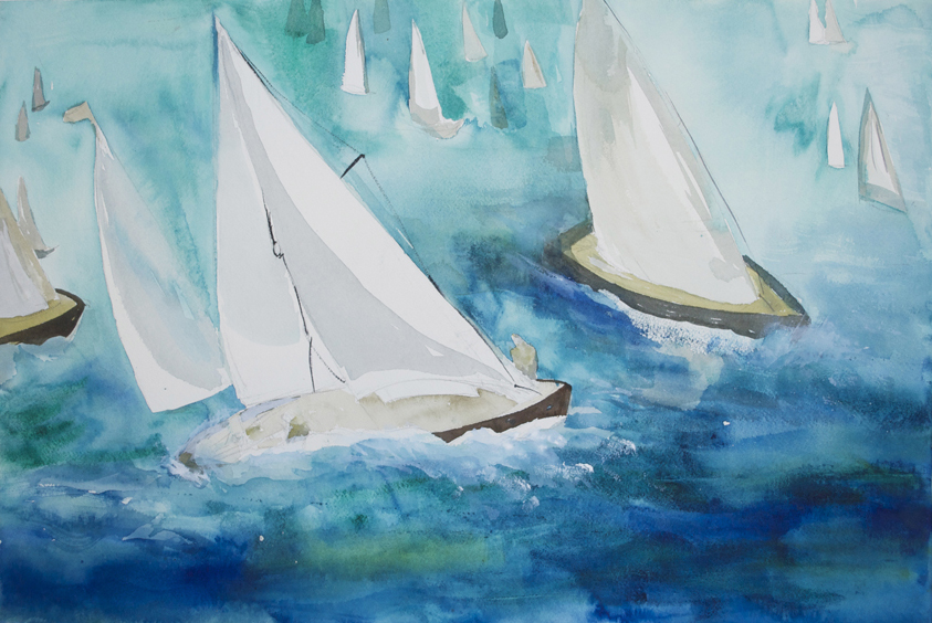 "Sailboat Race 1  2000 15"" x 22"" Watercolor on Paper"