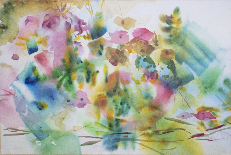 "Abstract Floral 2  2000 23 1/2"" x 29 1/4"" Watercolor on Paper"