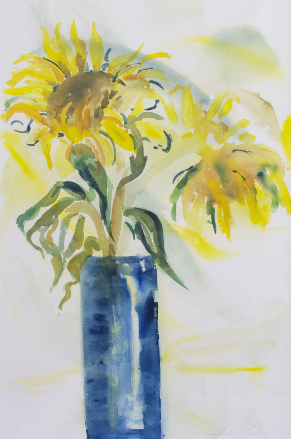 "Tall Blue Vase  1995 21.50"" x 14.50"" Watercolor on Paper"