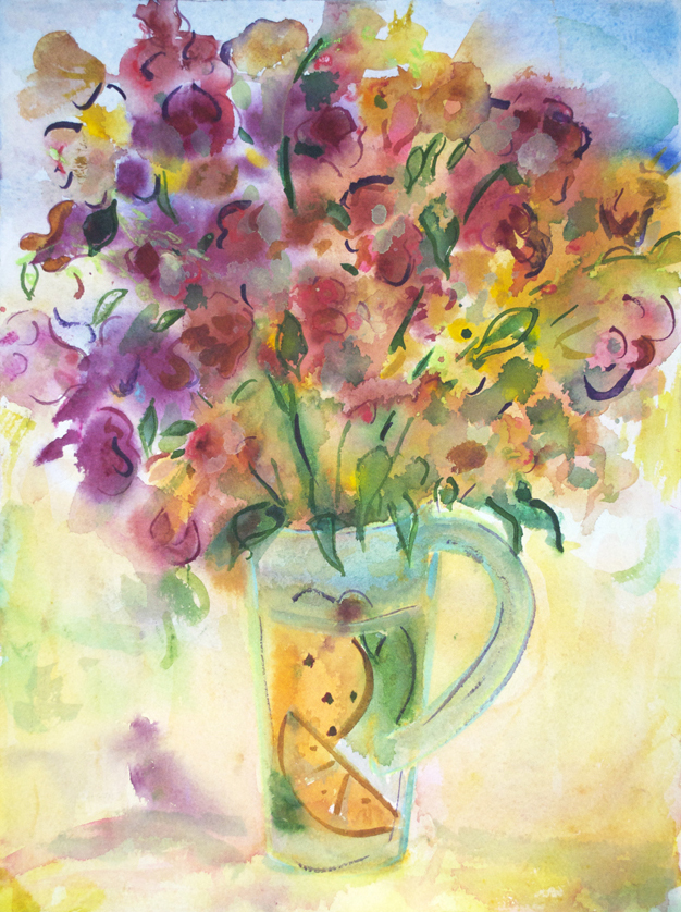 "Flowers in Fruit Vase  1992 15"" x 11"" Watercolor on Paper"