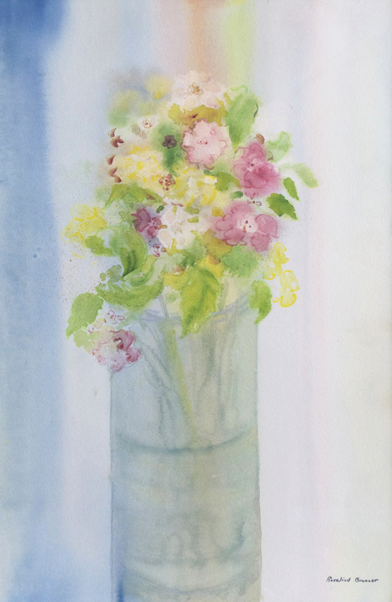 "Bouquet in Transparent Vase  1996 22"" x 14 1/2"" Watercolor on Paper"