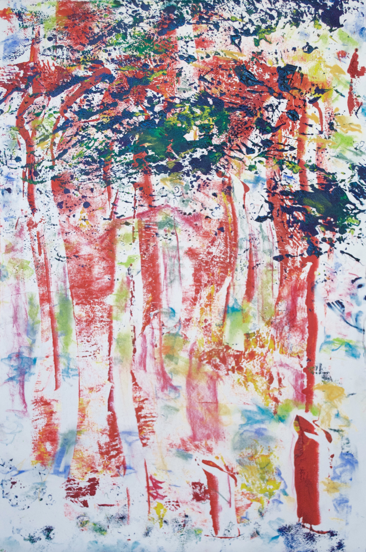 "Red Riding Hood  22.75 x 15"" Oil Ink Monotype on Paper"