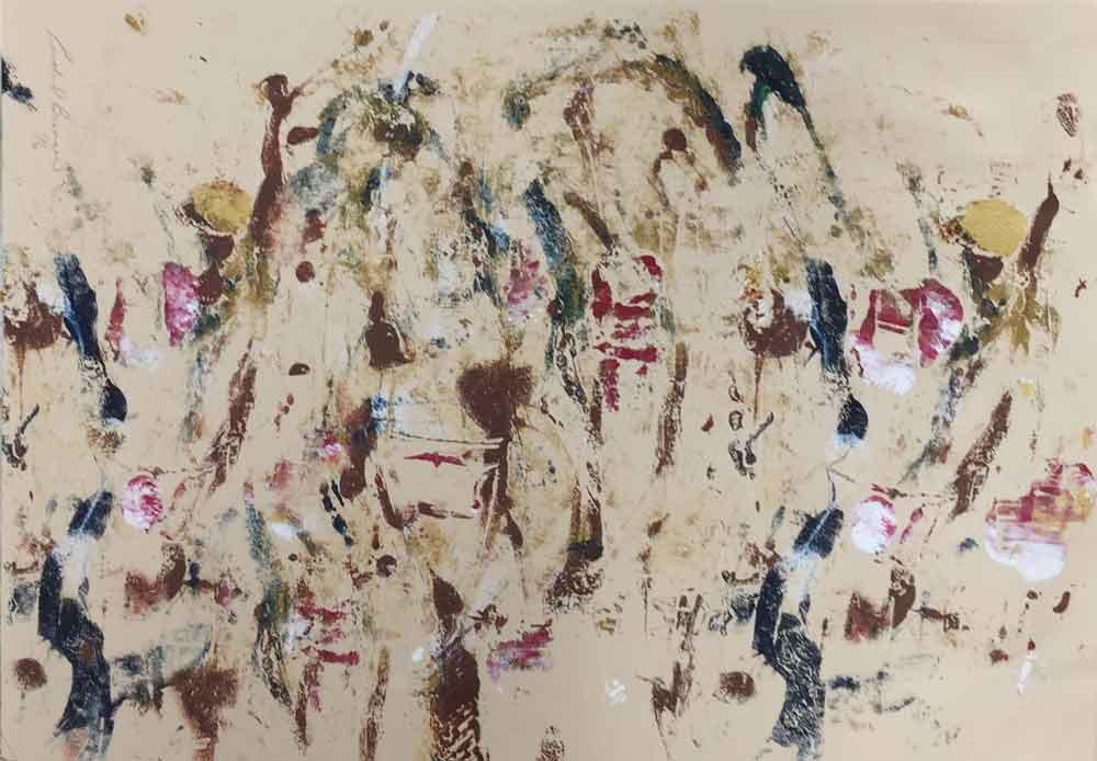 "Birds 1  2018 12"" x 19"" Monotype - Oil Ink on Paper"