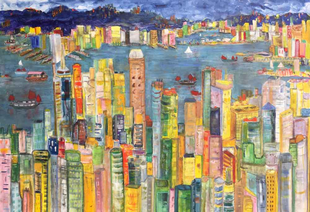 "Hong Kong Fantasy  2018 24"" x 36"" Mixed Media on Canvas"