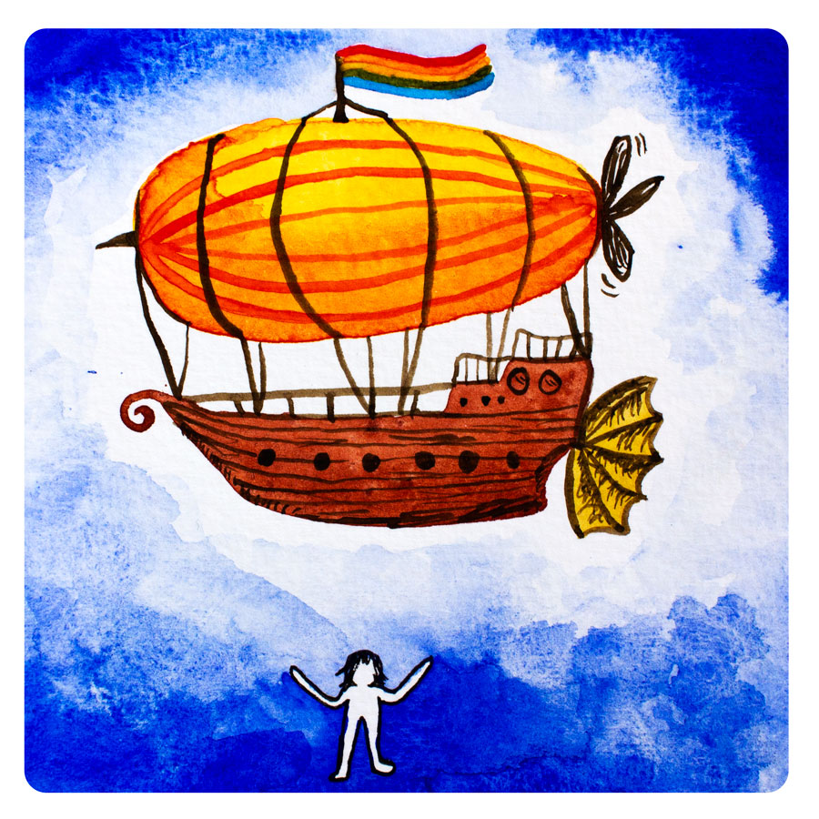 """- """"Okay, so it could be, like, a big ship,"""" she said, """"lifted up by a balloon, with a big propeller and some wings or something, multiple decks with a great view, some rope ladders and swings, and lots of bunks for people to sleep. Yes! That is where I want to live! How could I make that though? It sounds like a lot of work...""""The witch grinned, and told her simply, """"You can do it with support."""""""