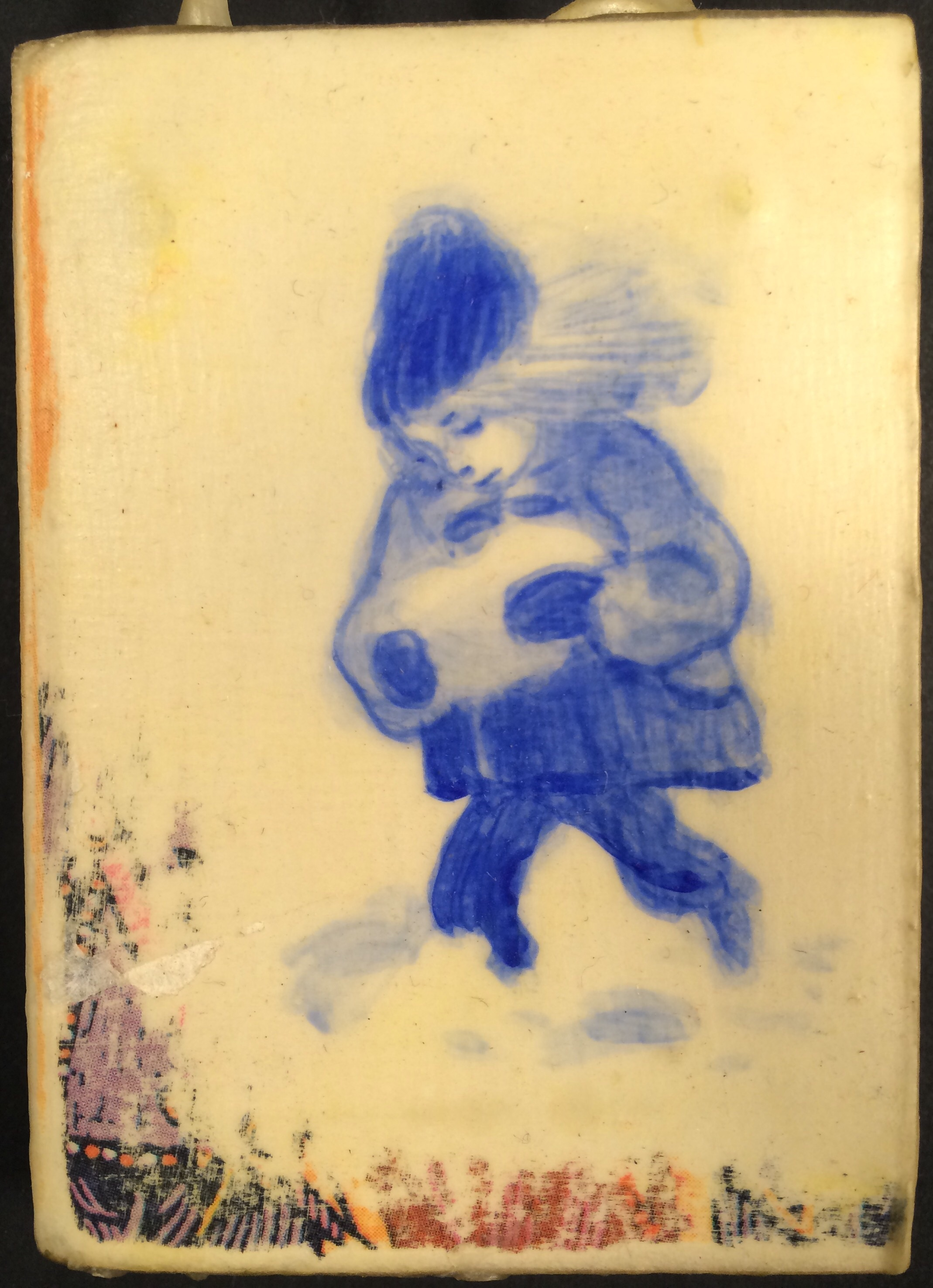 """Snowbaby (ornament) 2.5""""x2"""" Acrylic on quartered, sealed book, linen thread"""