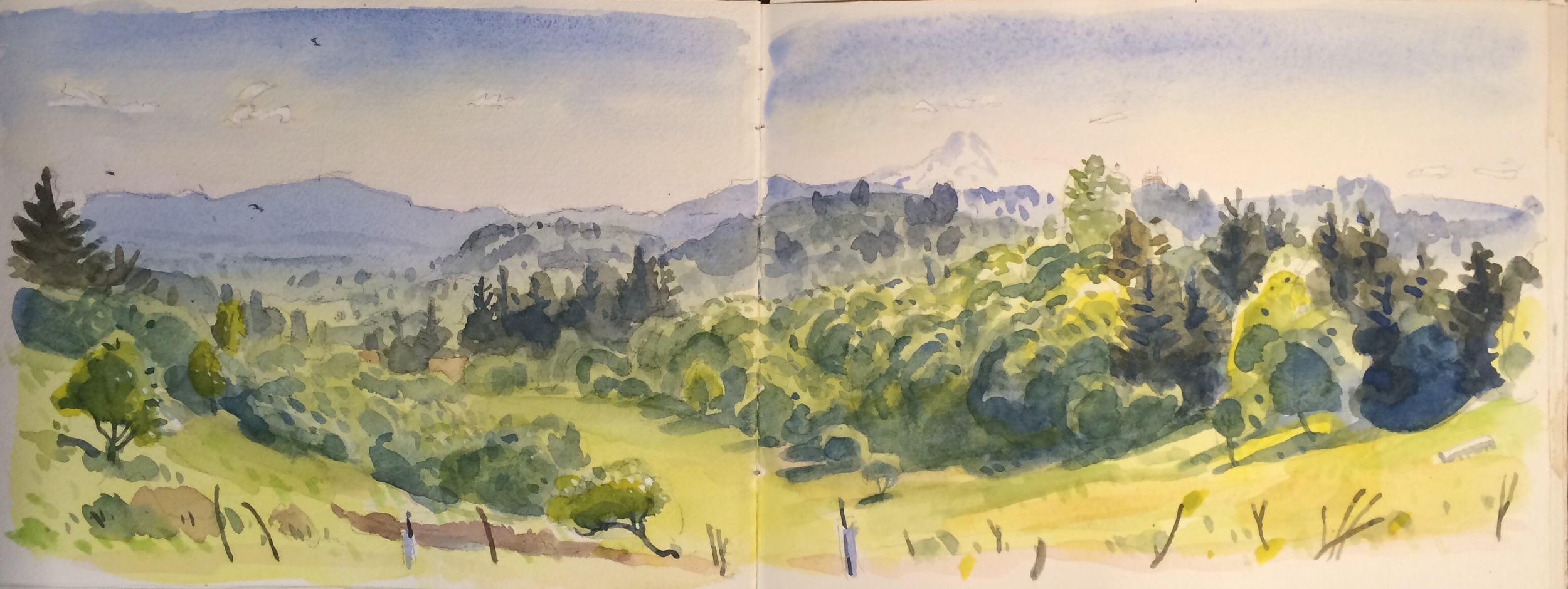 Gresham Butte, Larch Mountain, Mt Hood from the watercolor notebook, The Sesame Street Book of Shapes