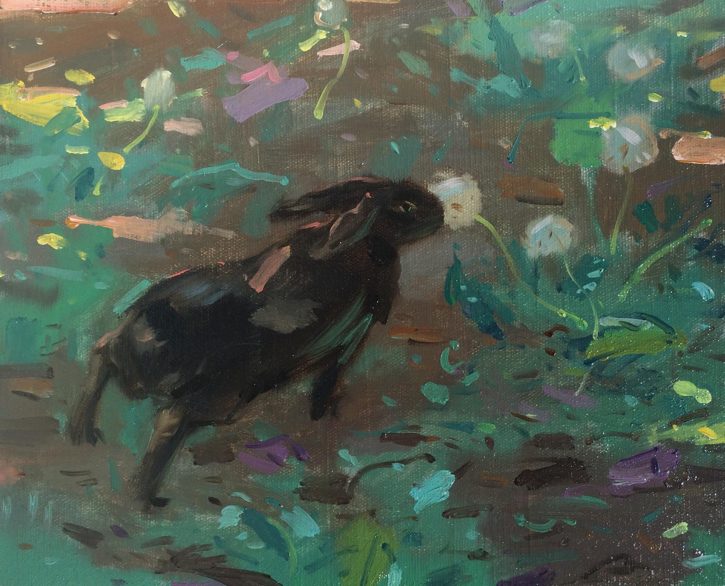 "Dandelion Thief, Oil in panel, 8"" x 10"""