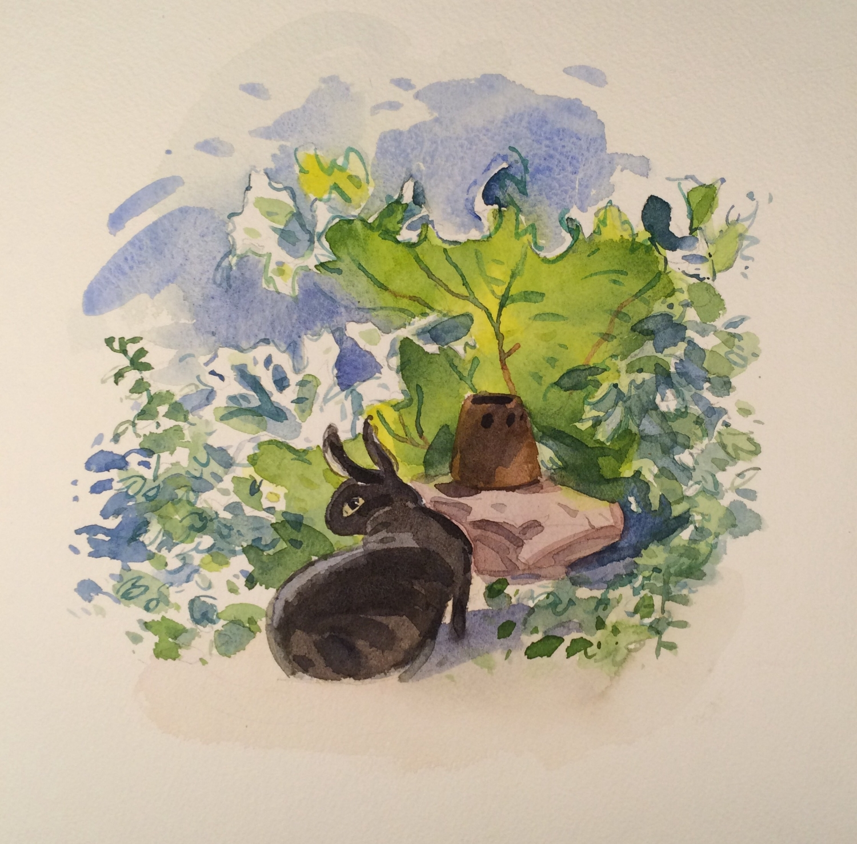"Bruno in the rhubarb, watercolor, 9"" x 8"""