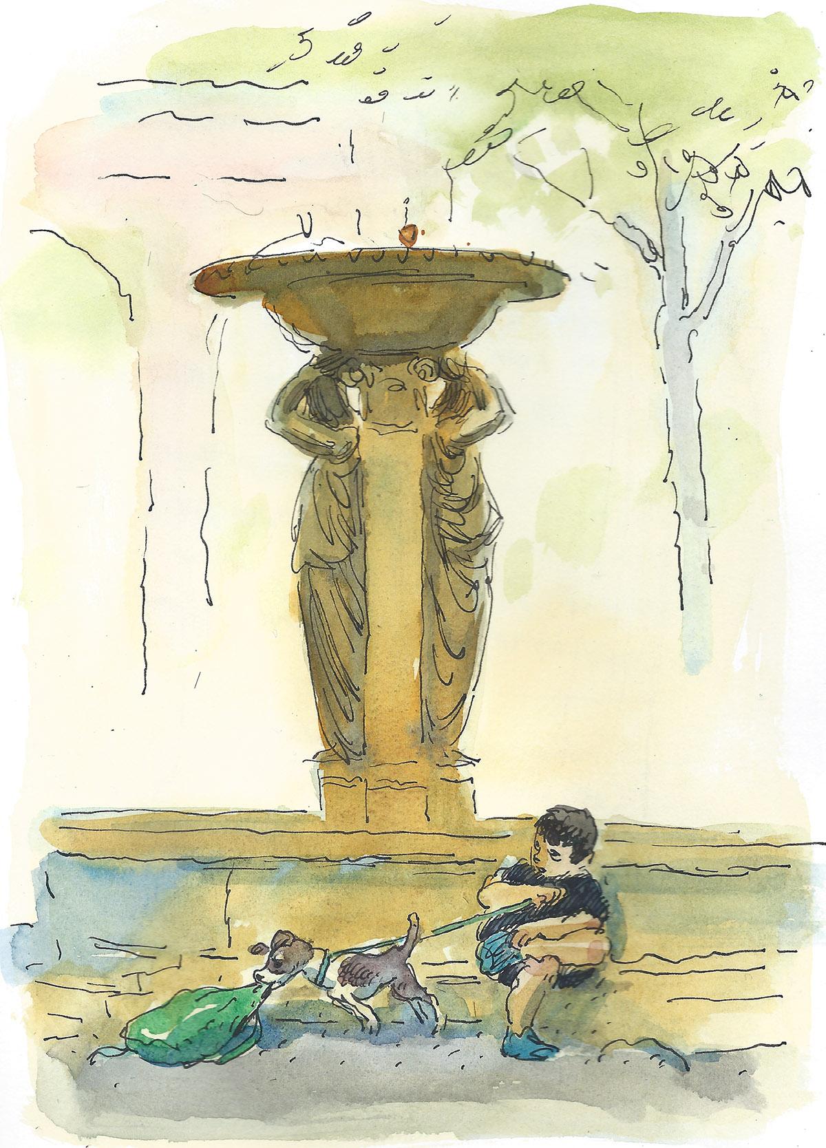 Puppy at Skidmore Fountain
