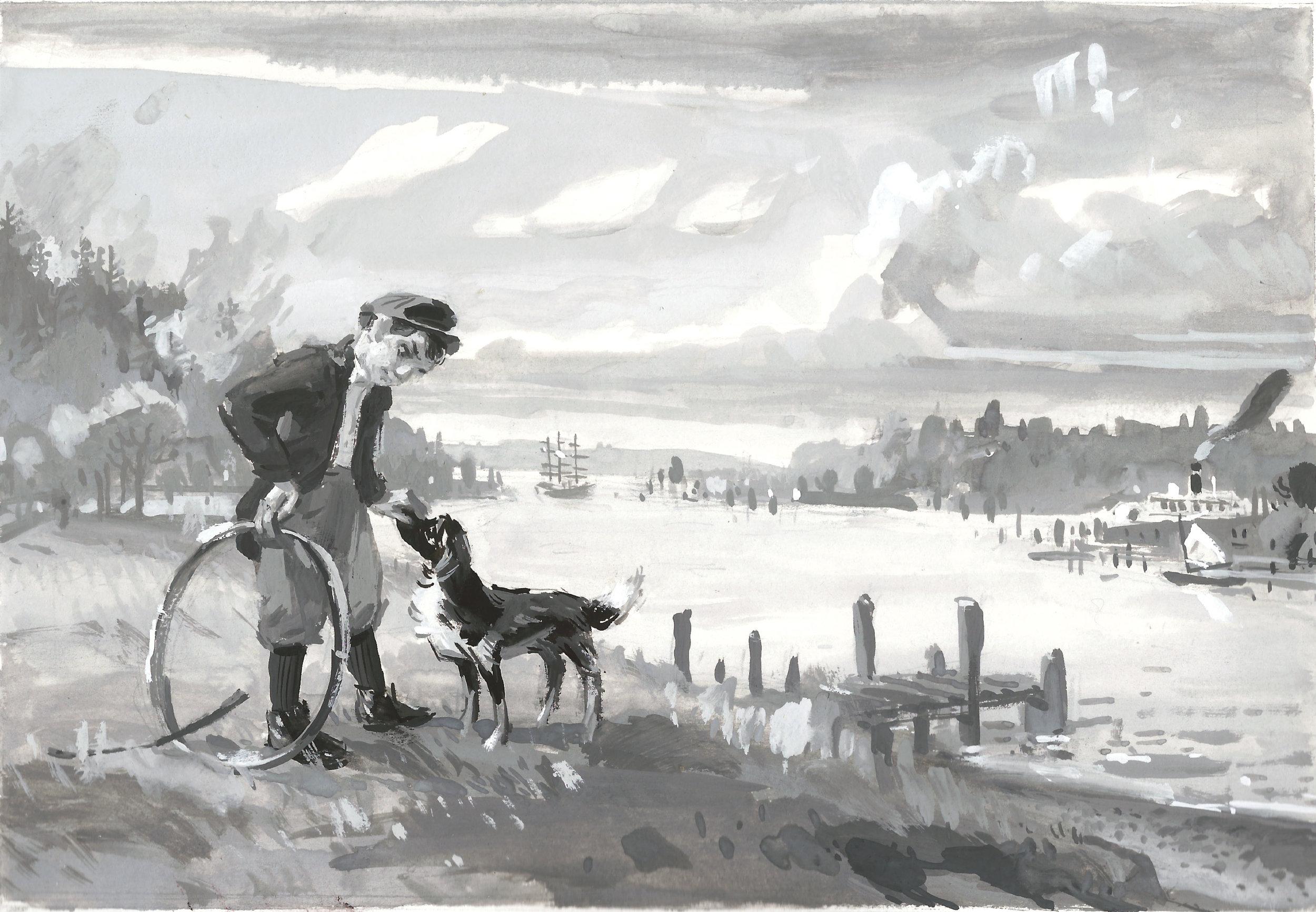 Jackson and Bob at the riverside