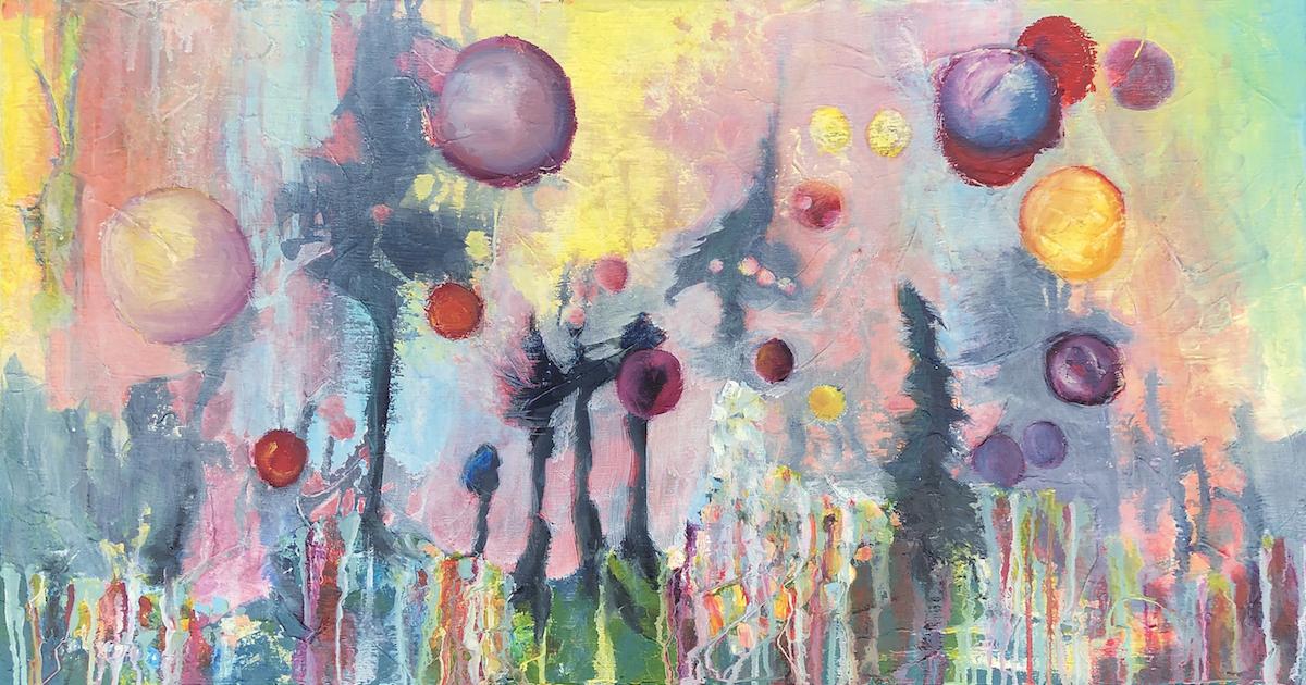 """Backyard Cosmos, 21"""" x 40"""" Acrylic & Oil on Canvas, 2019  (AVAILABLE)"""