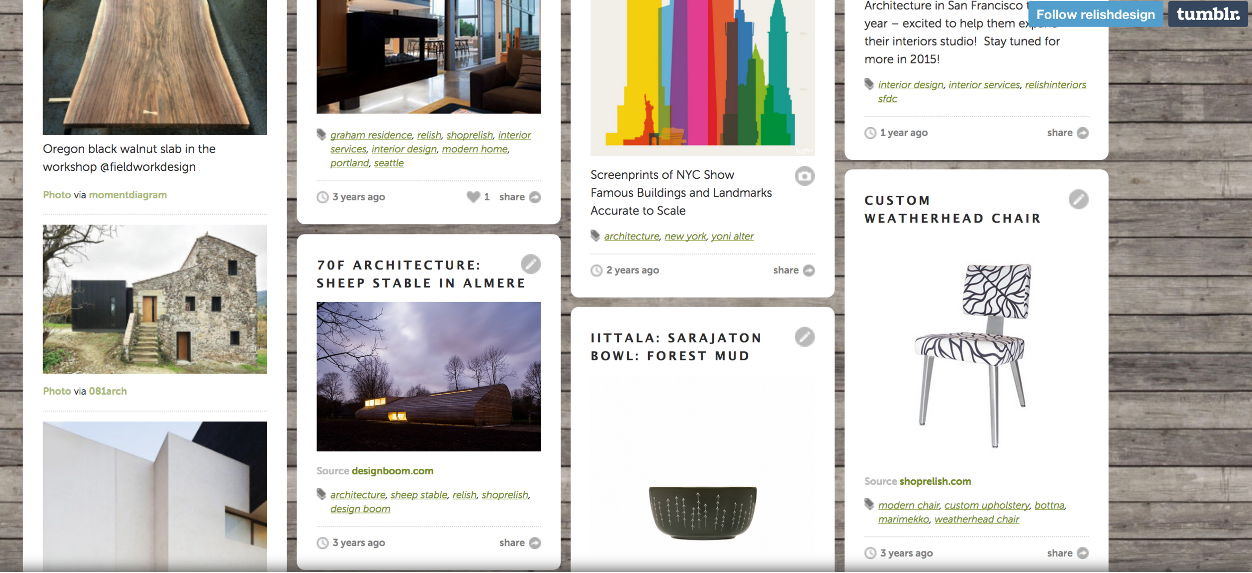 Tumblr  established, strategized, and maintained for  Relish Design , an interior design company, as a promotional tool