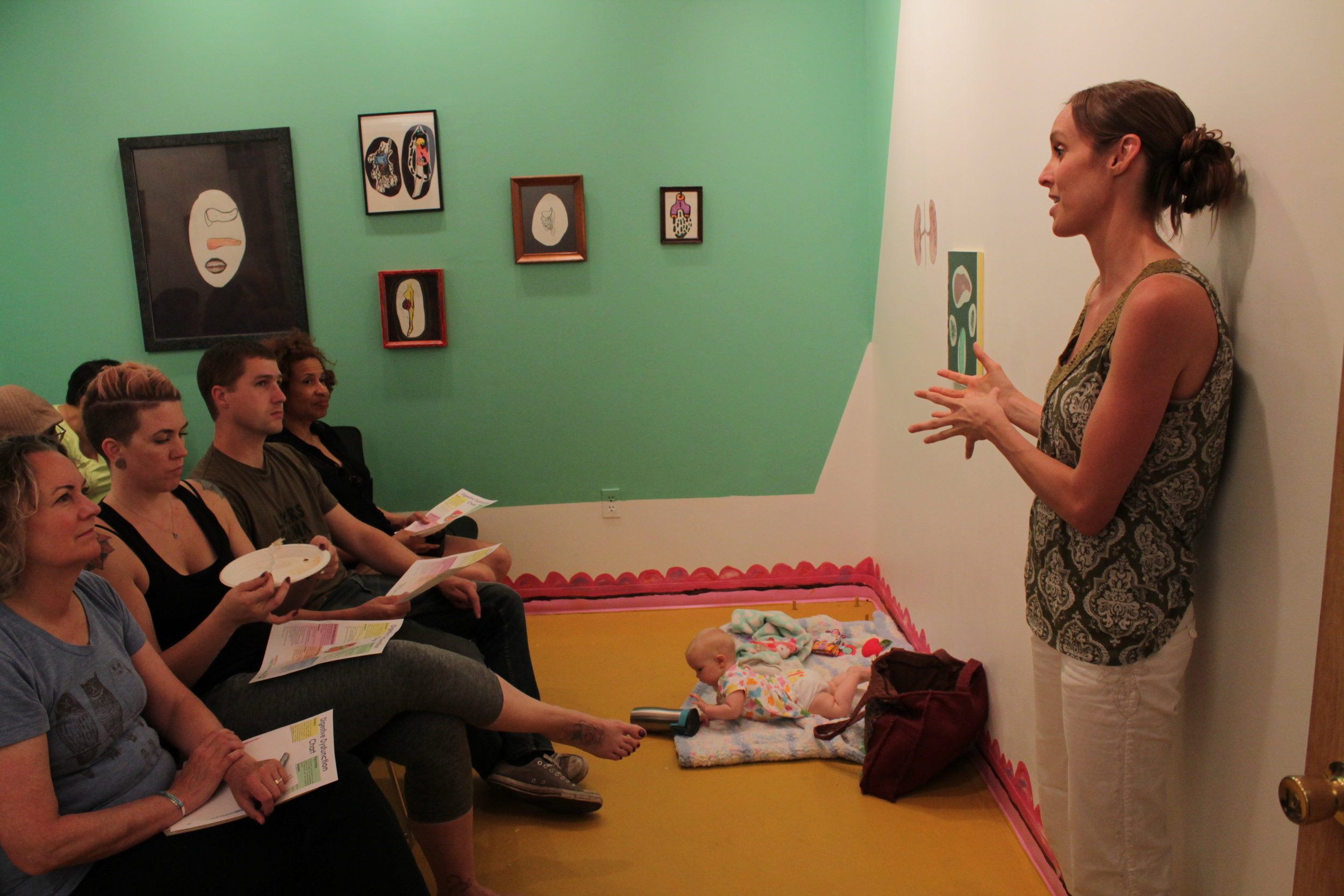 Pie Hole to A Hole was a program in part of the Loo-vre gallery (a gallery based on digestion) hosted in Big Car Collaborative's space. The first half of the program featured yoga for digestion and the second half was an informative talk on digestion by a local Indianapolis functional medicine doctor.