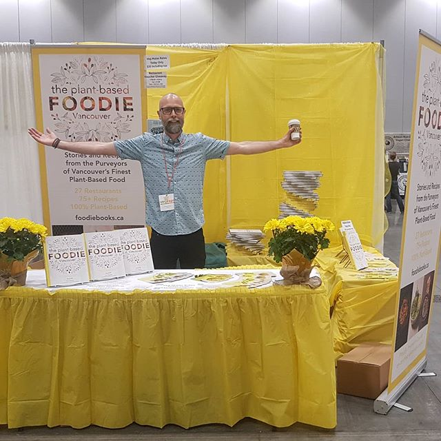 Winner of the yellow-est booth @vegexpo 2019. Come say hello! So happy to be rubbing shoulders with so many amazing people from the #Vancouver #plantbased community #vegexpo2019 🌱💪