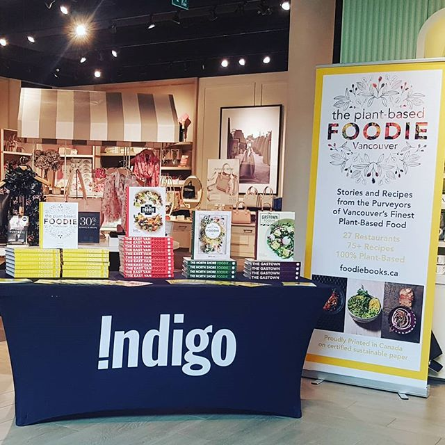 Lovely day for chats and book signings at #indigobooks #robsonst come say hello! # Vancouver #cookbook