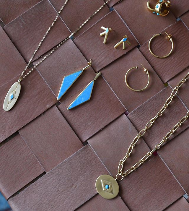 Gold and Turquoise... ...Our favorite combo. ✨ ⠀⠀⠀⠀⠀⠀⠀⠀⠀ #sierrawinterjewelry #sterlingsilver #gold #lovegold #jewelrygram #showmeyourjewels #jewelrydesigner #jewelry #jewelrydesign #buycoolshit
