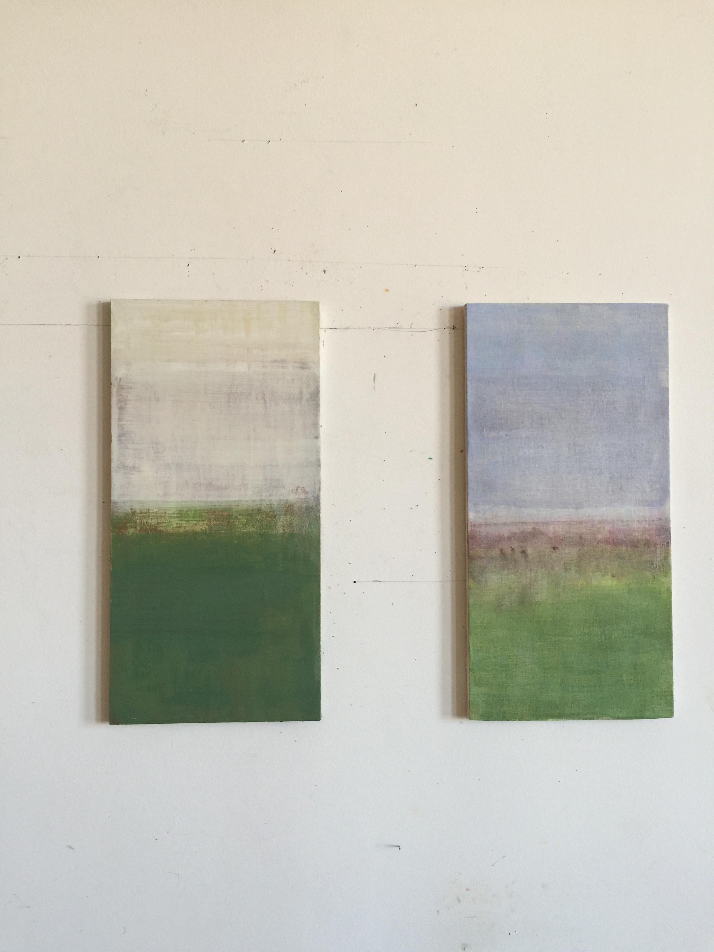 """""""Field / Whaleback Road"""", 2014, oil on linen,20"""" x 10"""" x 0.5"""""""
