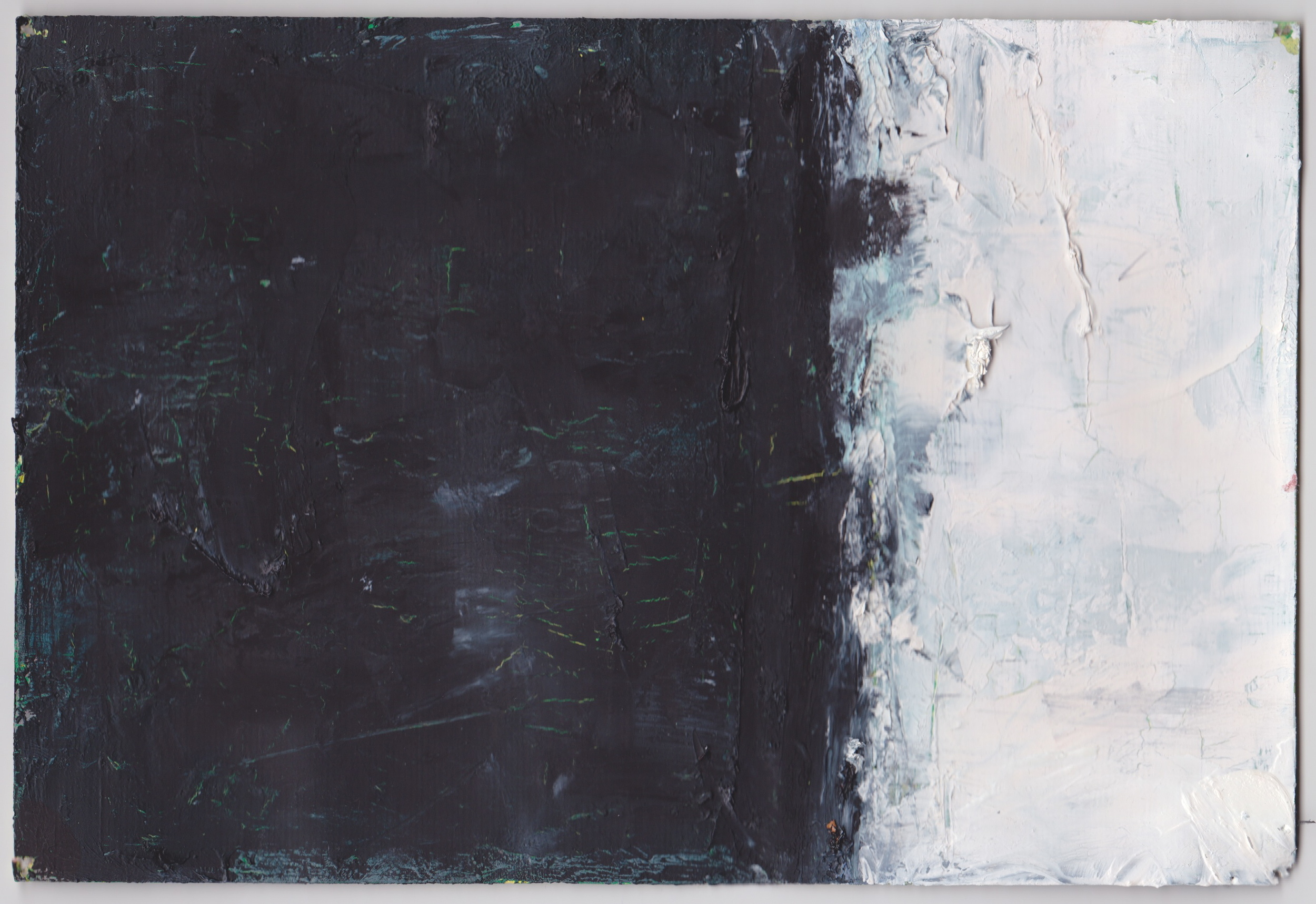 """Study for big black and white ptg ,2012, oil on canvas paper, 6"""" x 8.5"""""""