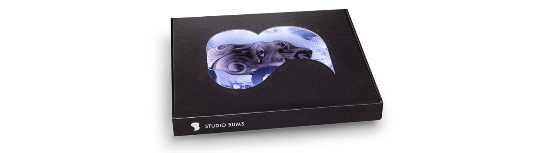 STUDIO BUMS®Special Edition magazine logo box.