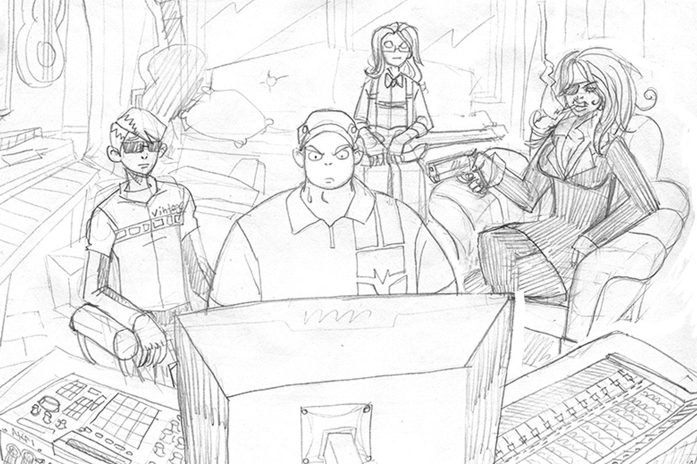 STUDIO BUMS®   Phase Three artwork sketch for the comic strip titled  KILL TRAP  illustrated by Lemon5ky.