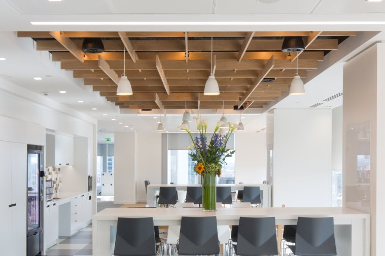 Timber feature ceilings such as this one at Mastercard, provide wide reaching benefits to office design