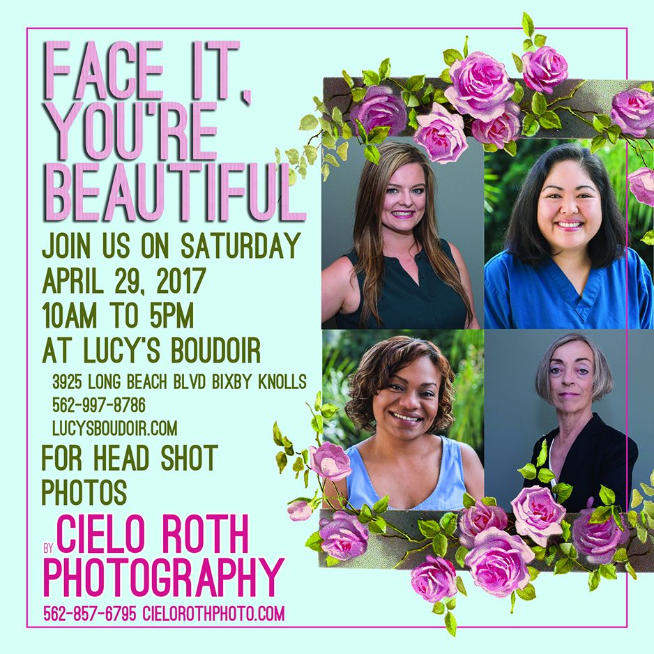 April 29, 2017 Head shot event. Free with purchase or $50 without. $250 value. 10am to 5pm