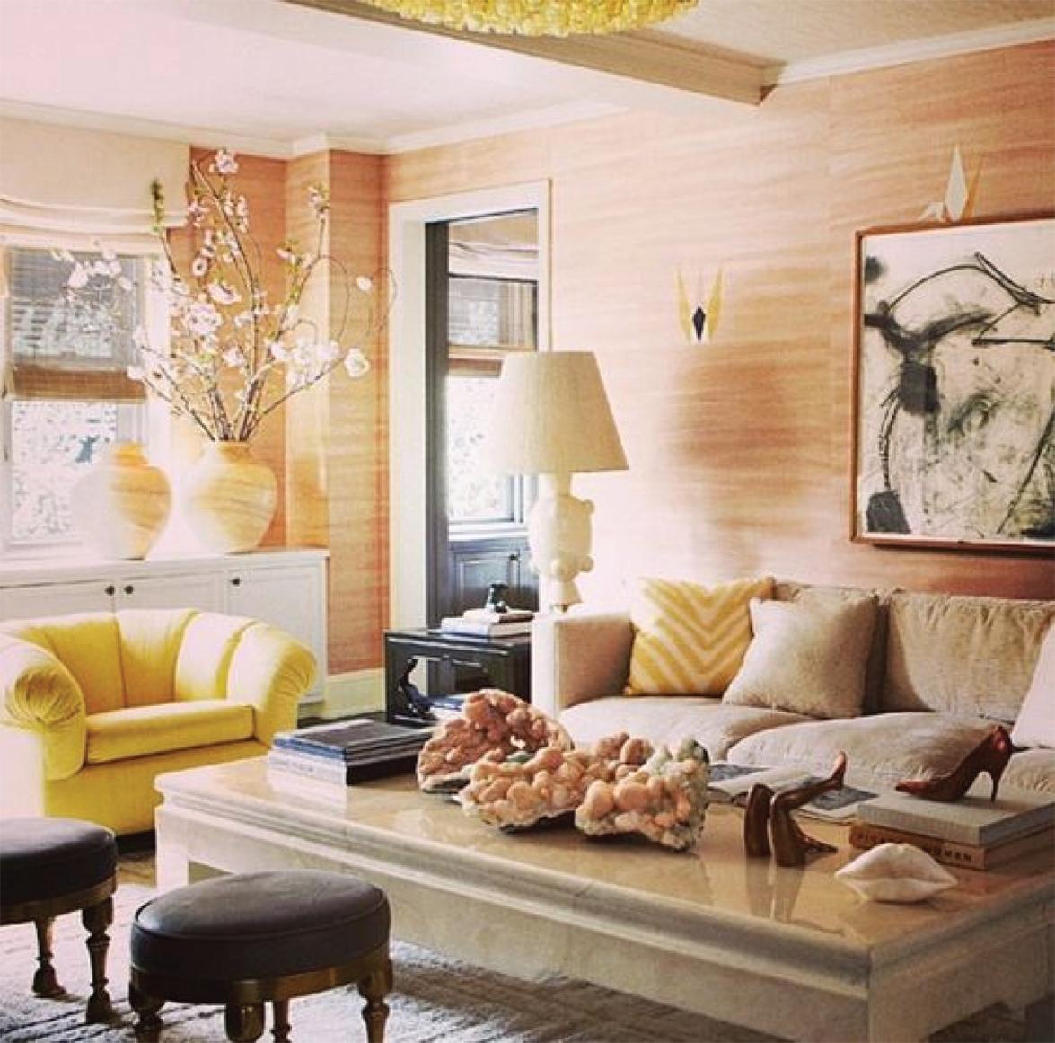 Blush Living Room Design by Kelly Wearstler