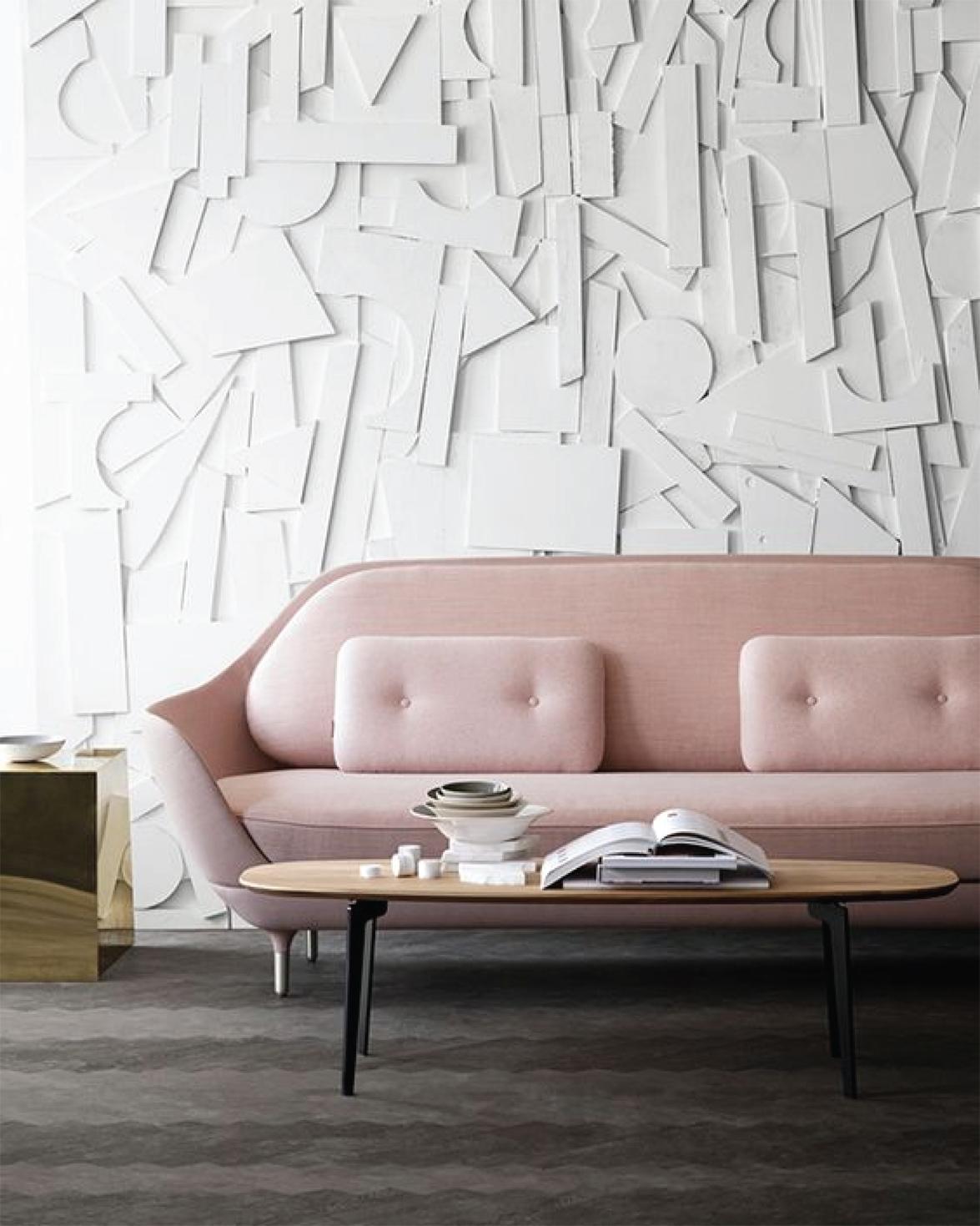 Blush pink sofa | Interior Design
