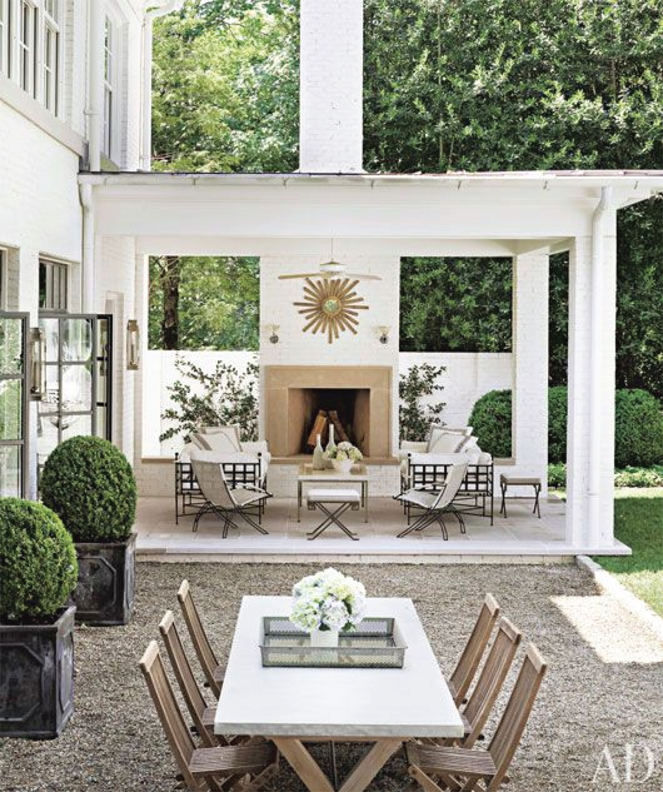 Transitional Outdoor Fireplace & Living Area