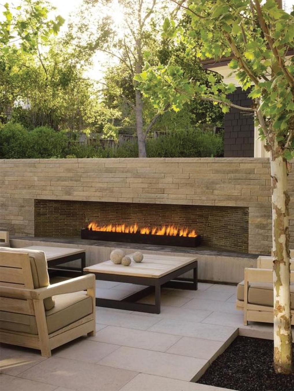 Modern Outdoor Linear Stone Fireplace