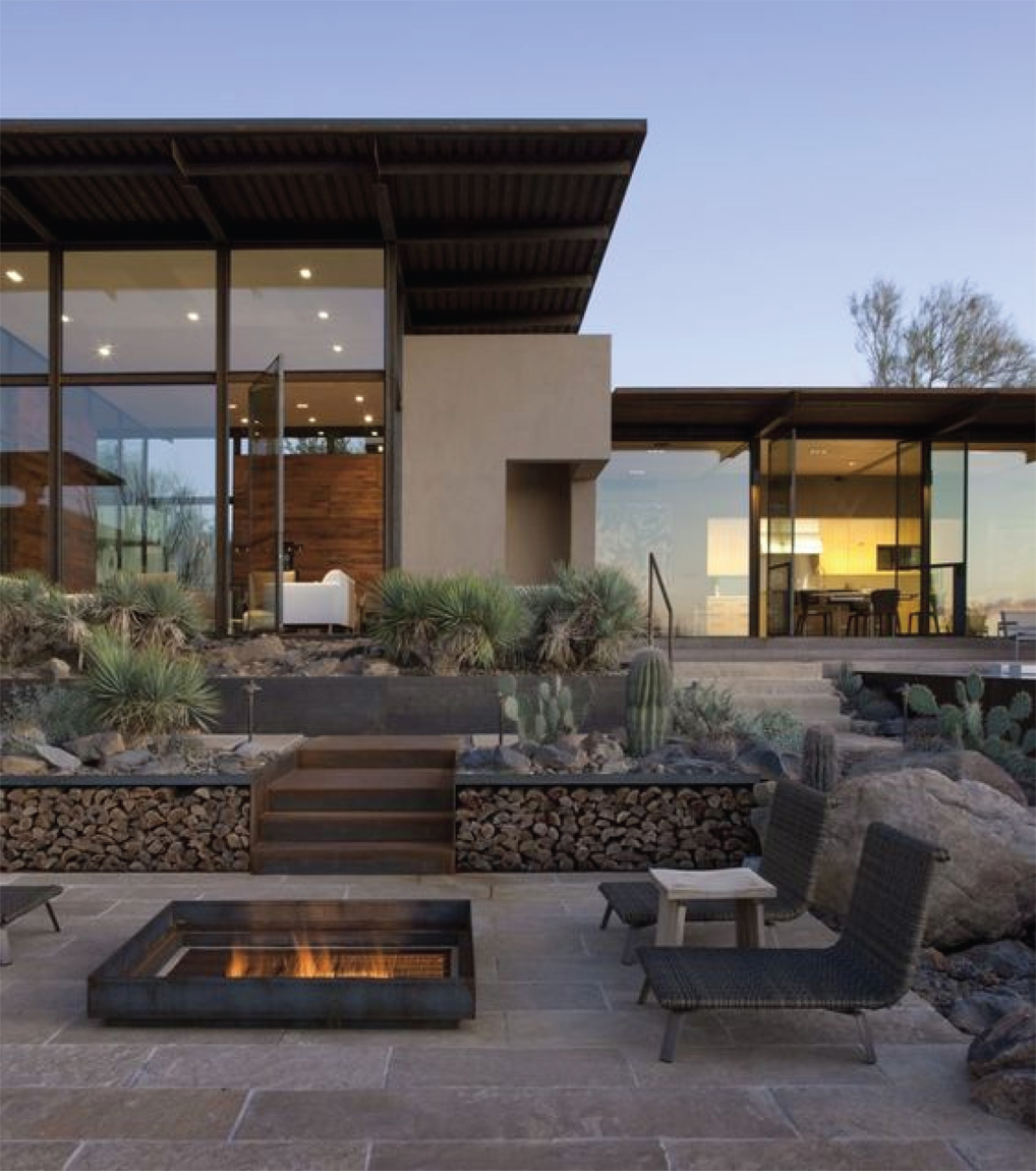 Outdoor Desert Firepit & Living Area