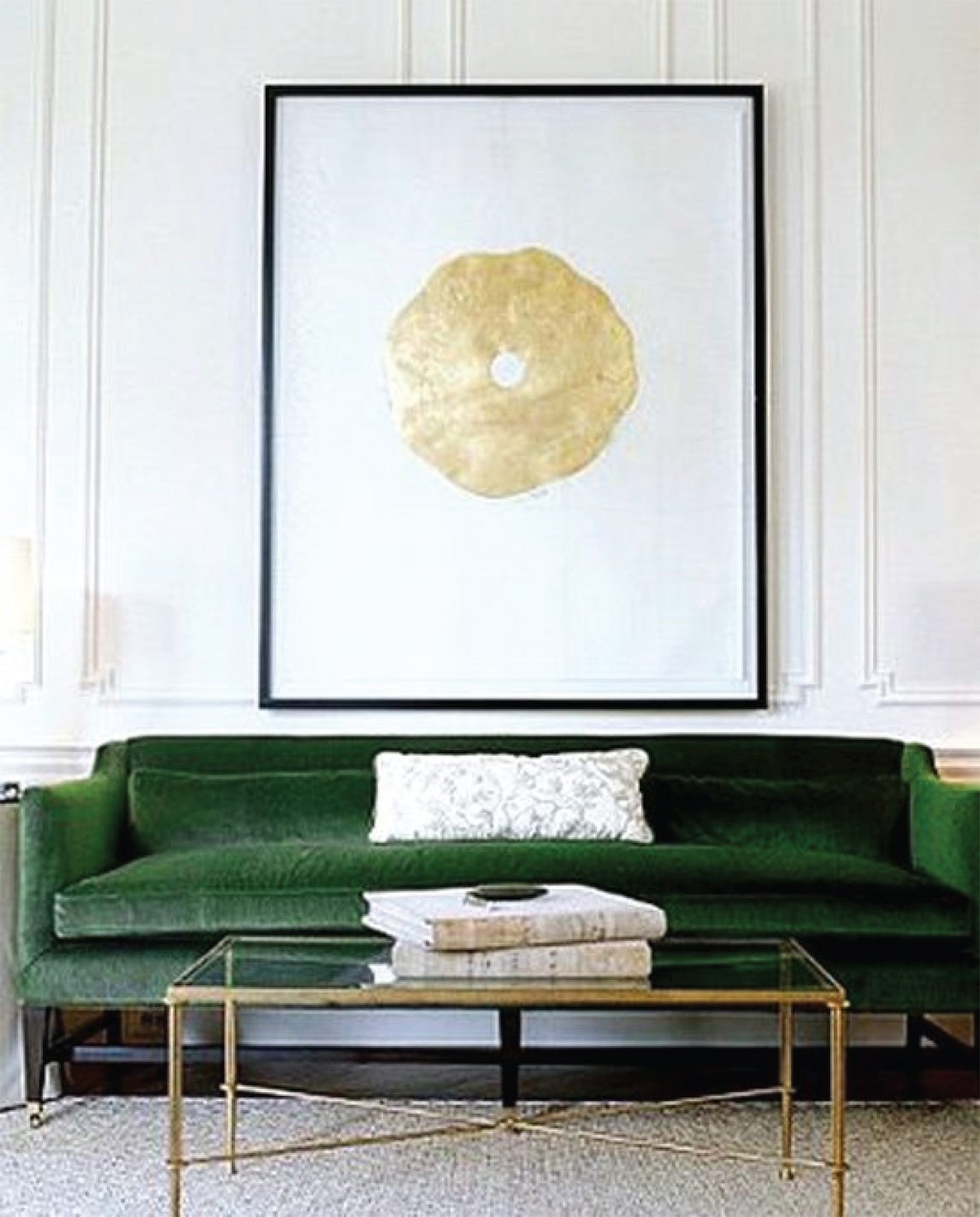 Emerald Green and Gold Living Room Design