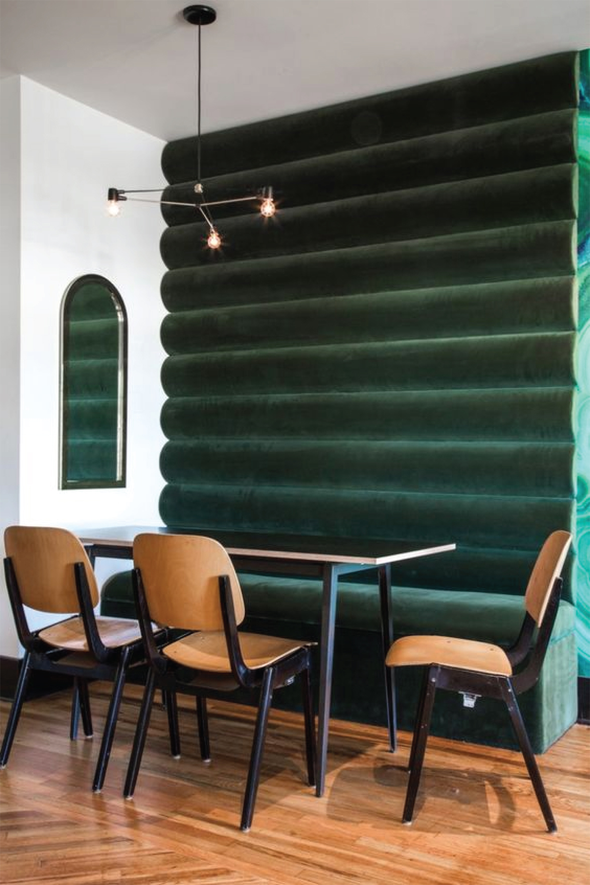Emerald Green Dining Room Design | Upholstered Wall
