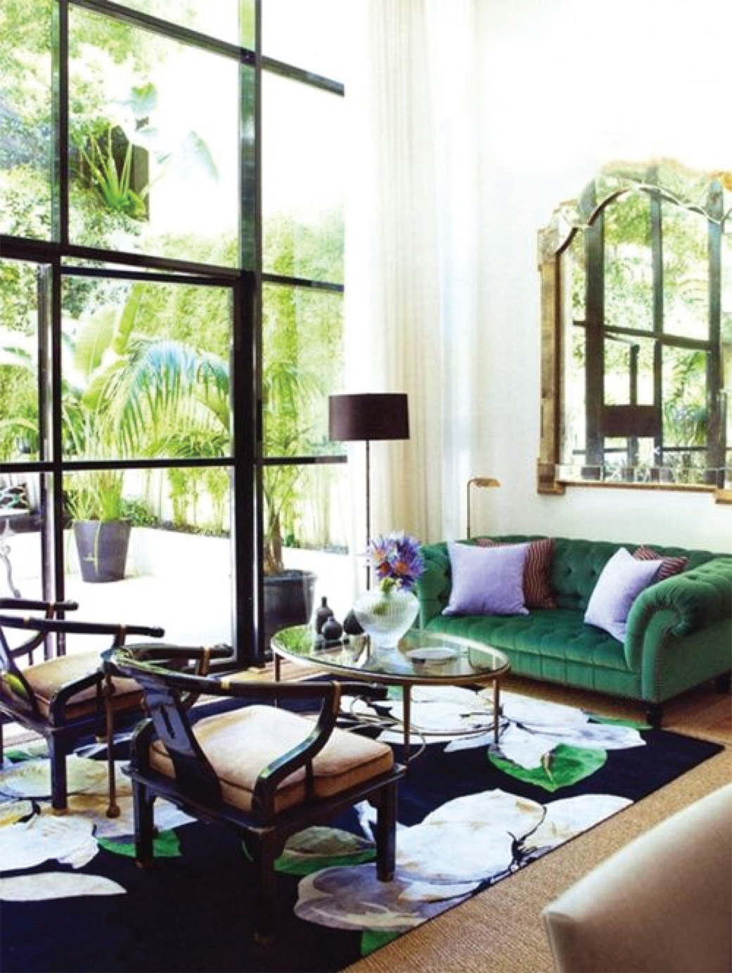 Eclectic Living Room Design | Green Tufted Sofa
