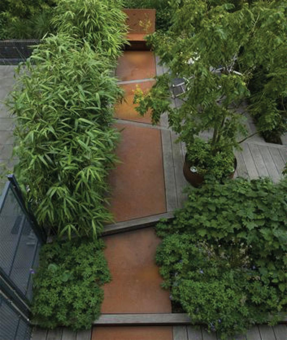 Statement Gardens: inlaid Corten steel pathway | Akin Design Studio Blog