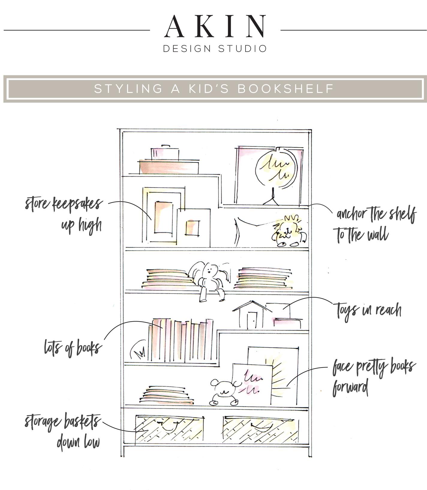 How to Style a Kid's Bookshelf   Akin Design Studio Blog