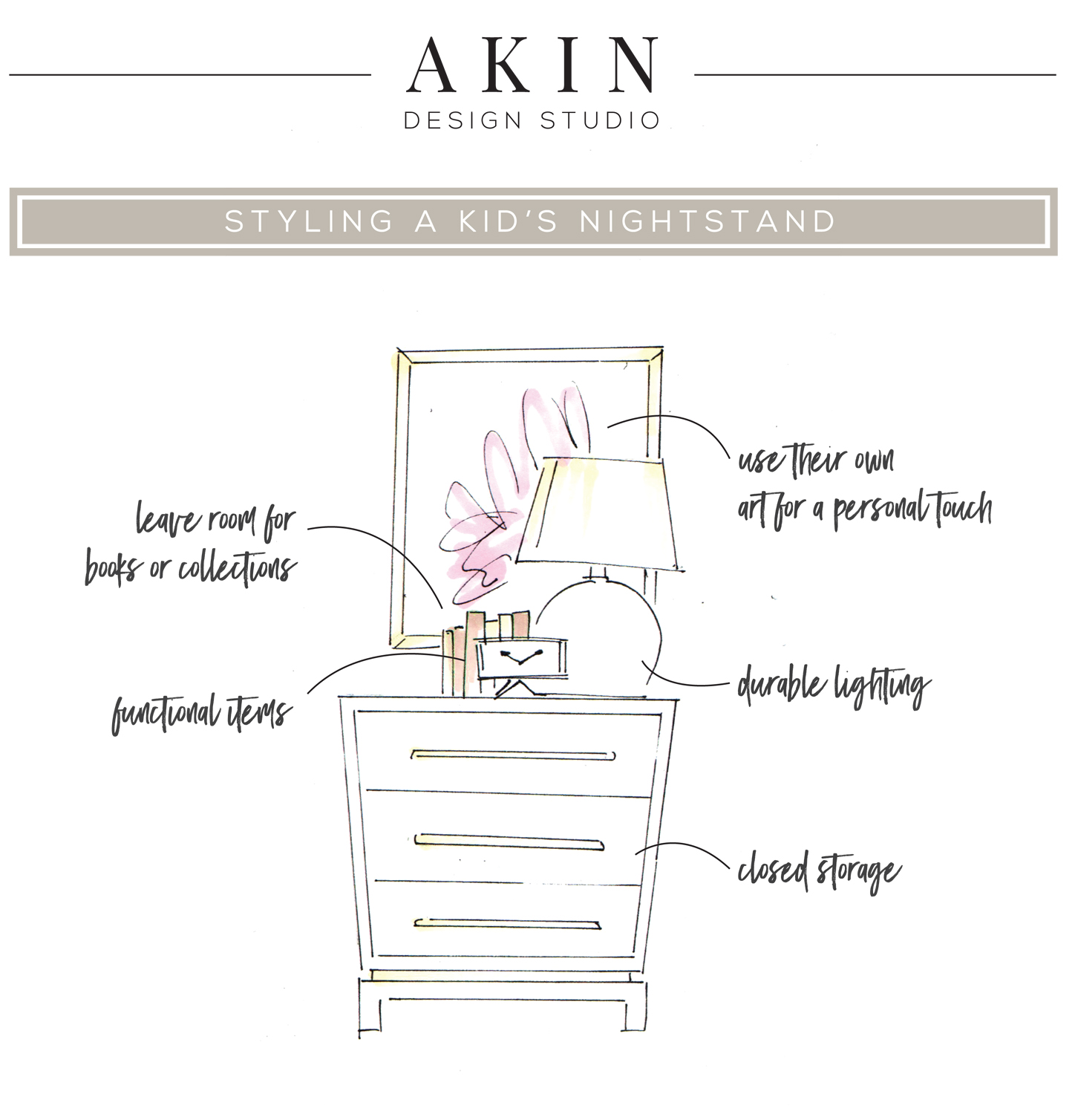 How to Style a Kid's Nightstand | Akin Design Studio Blog