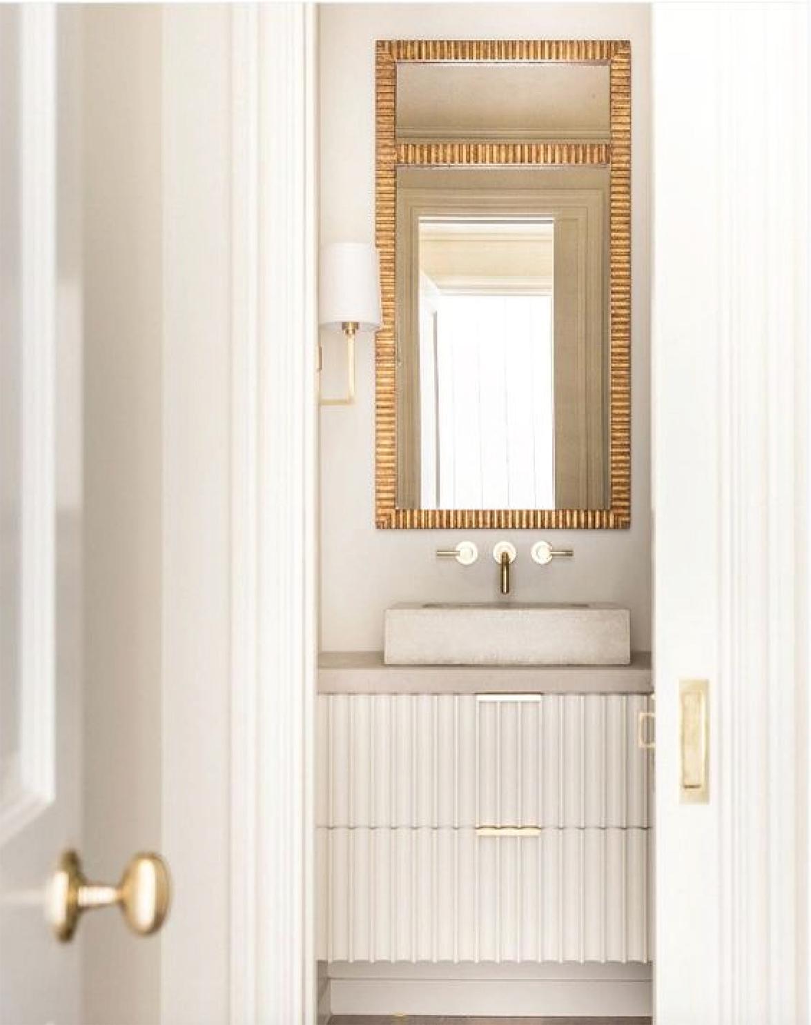 White and Gold Powder Bathroom   Akin Design Studio Blog