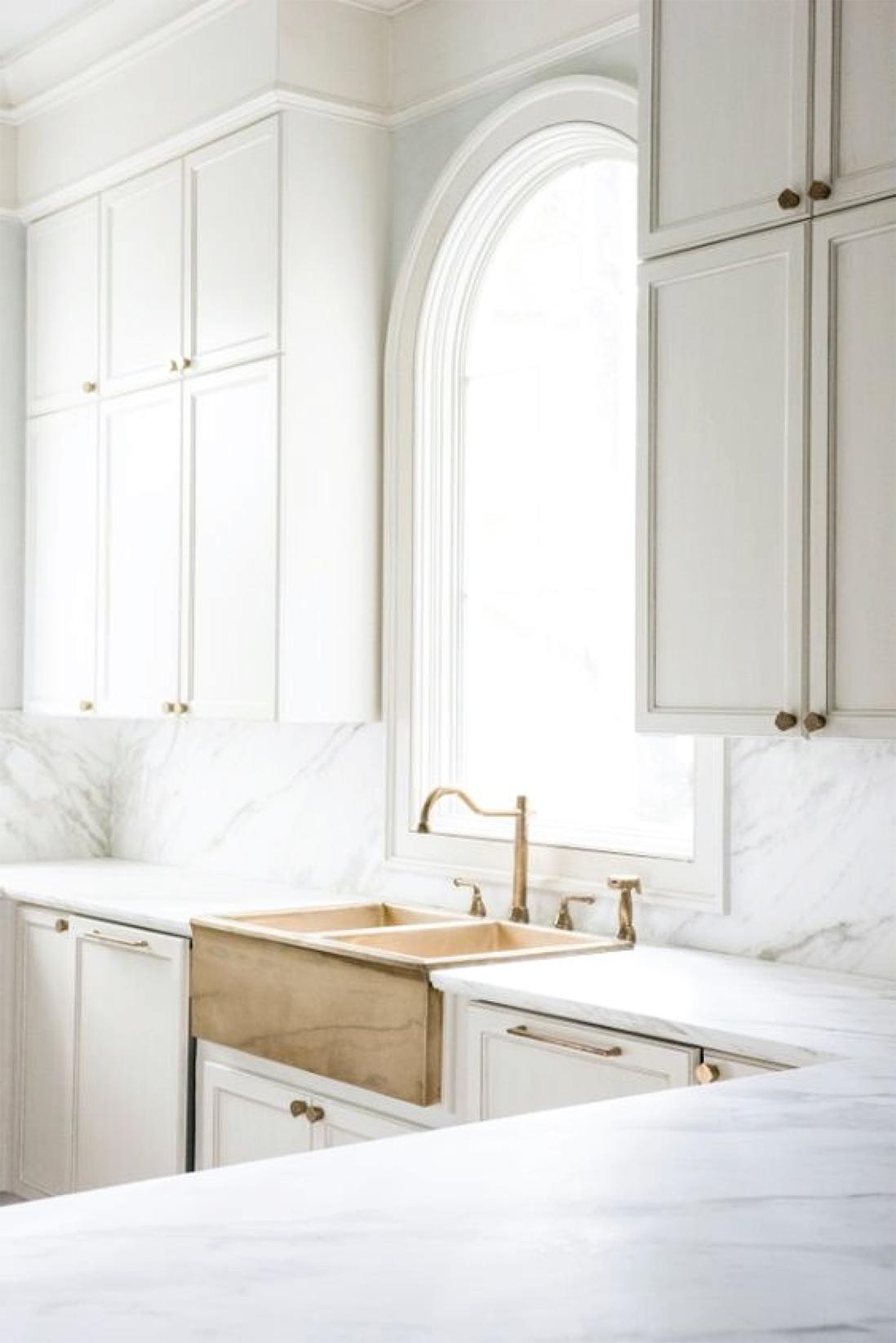 White Kitchen Cabinets   Brass Sink   Akin Design Studio Blog