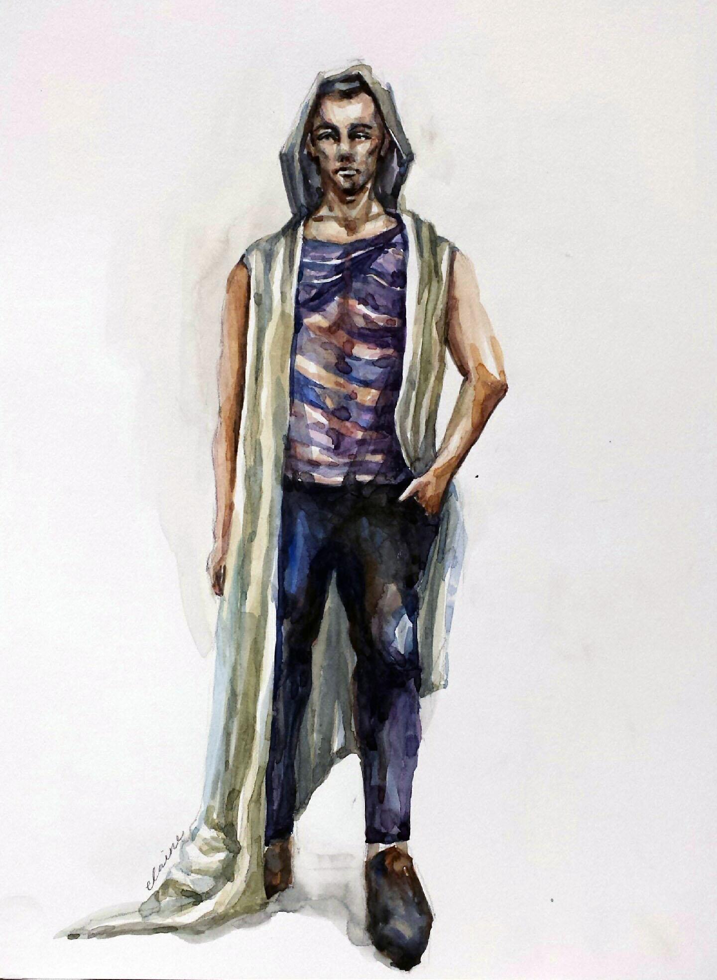 Man, Stripes, Folds   Watercolor