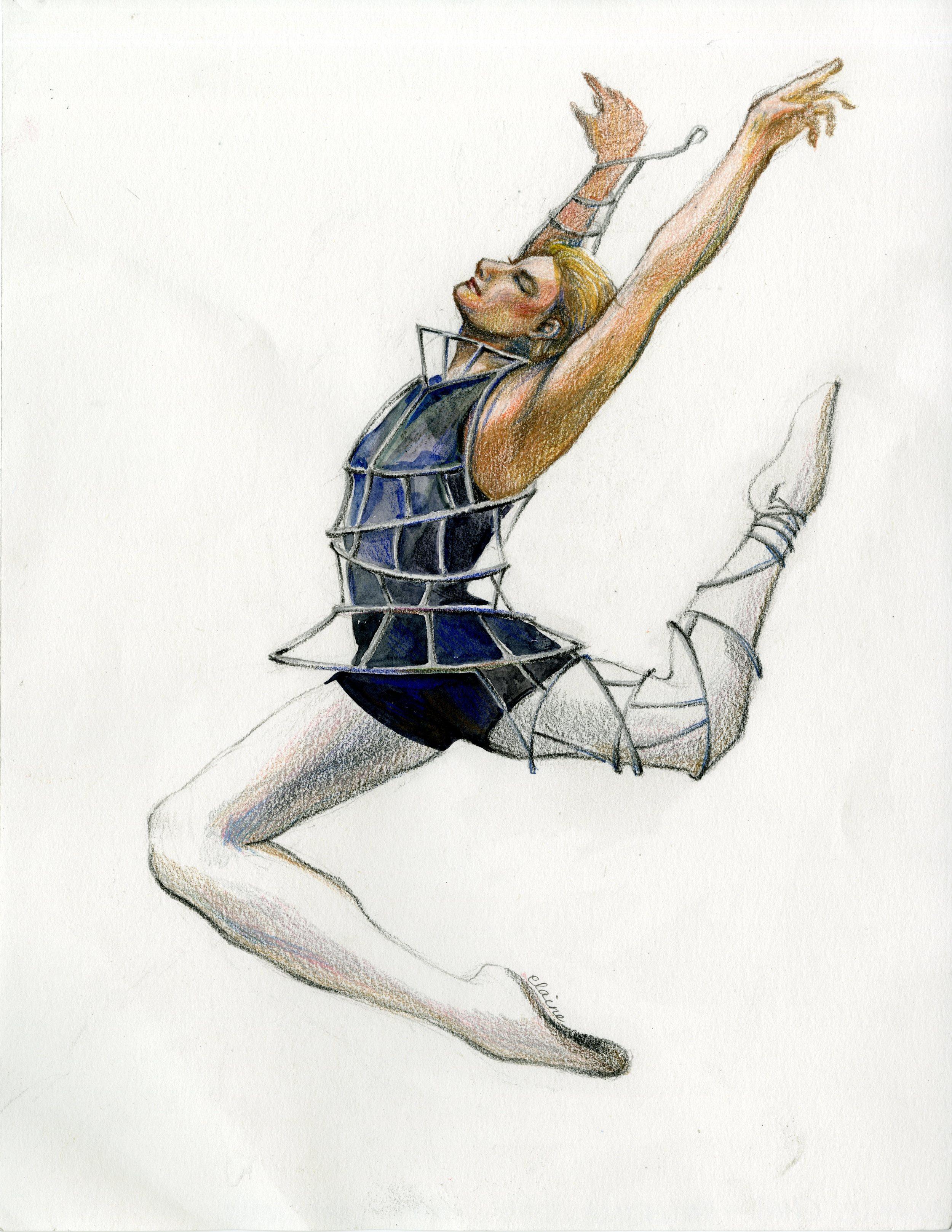 Ballerina, Jump, Open, Arrogant   Water-soluble color pencil