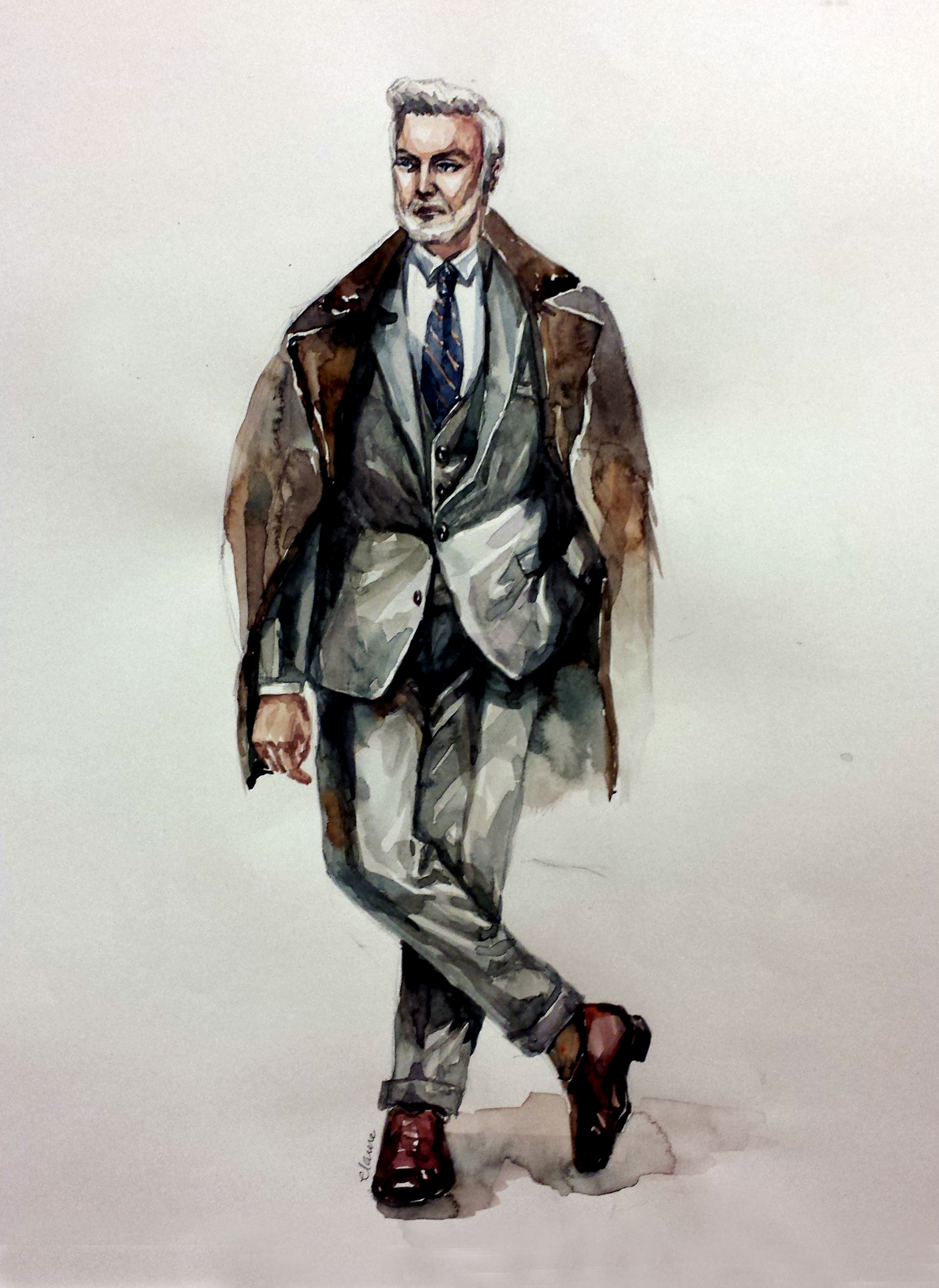 Old man, Suit   Watercolor