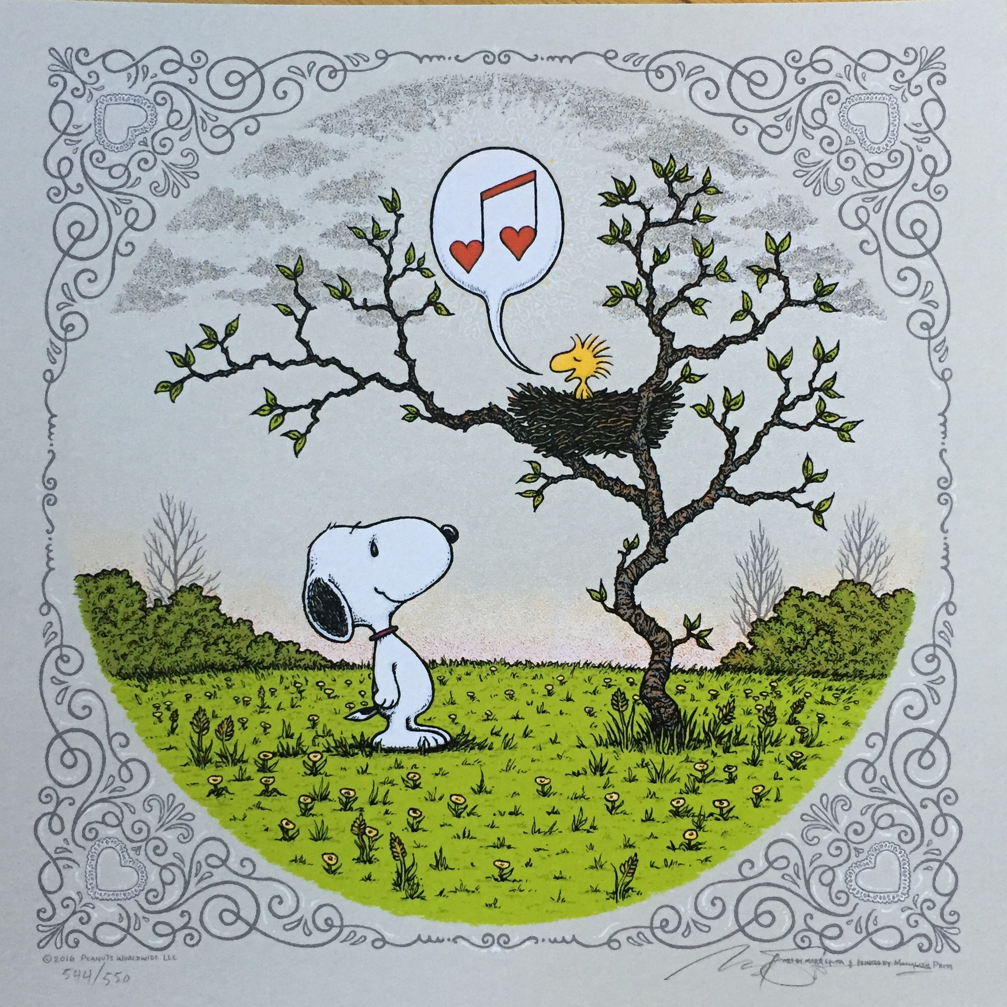 """Song of Love on gray 12"""" x 12"""""""