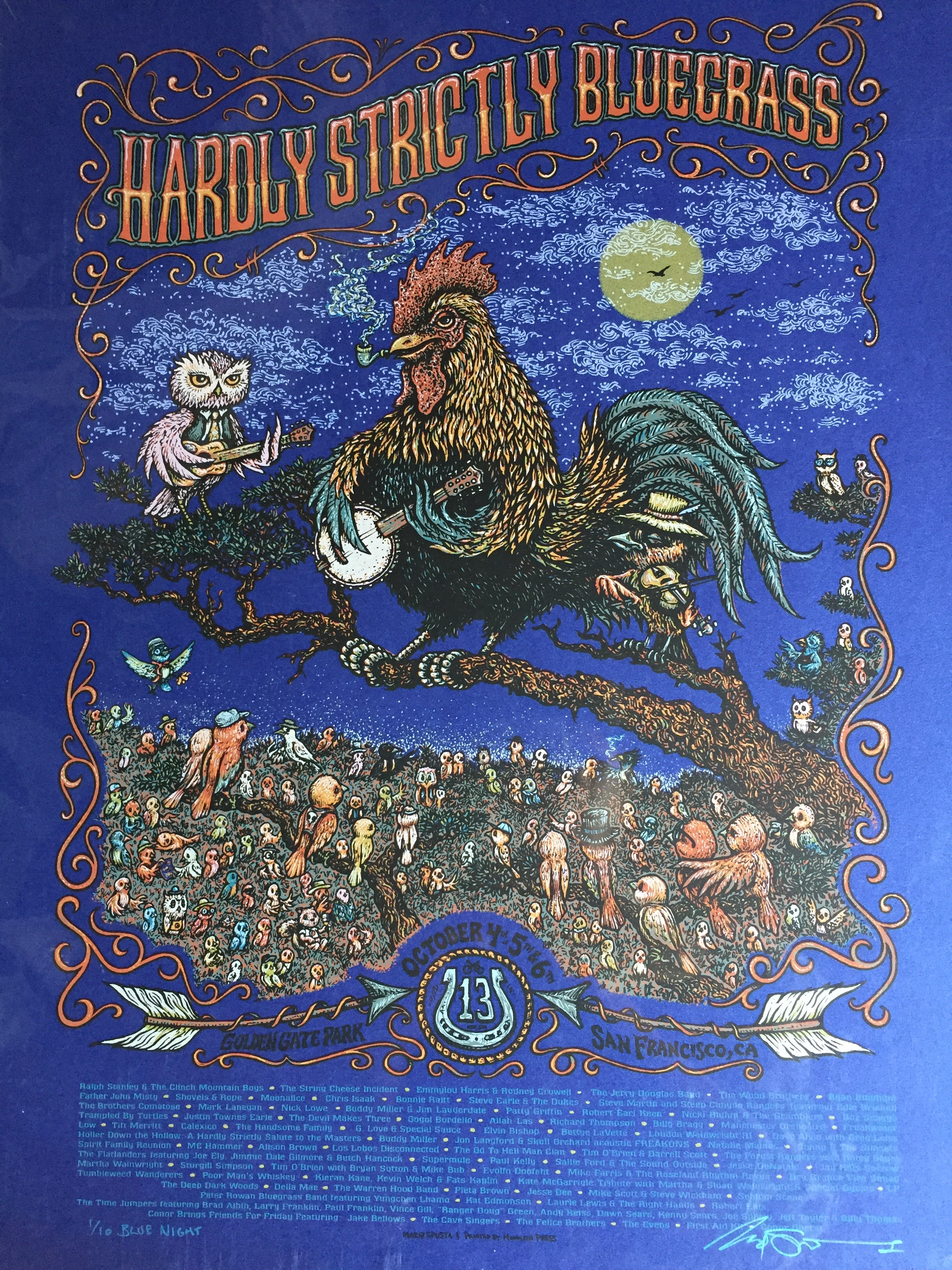 """Hardly Strictly Bluegrass 16"""" x 22"""" 2013 Blue Night Variant run of 10"""