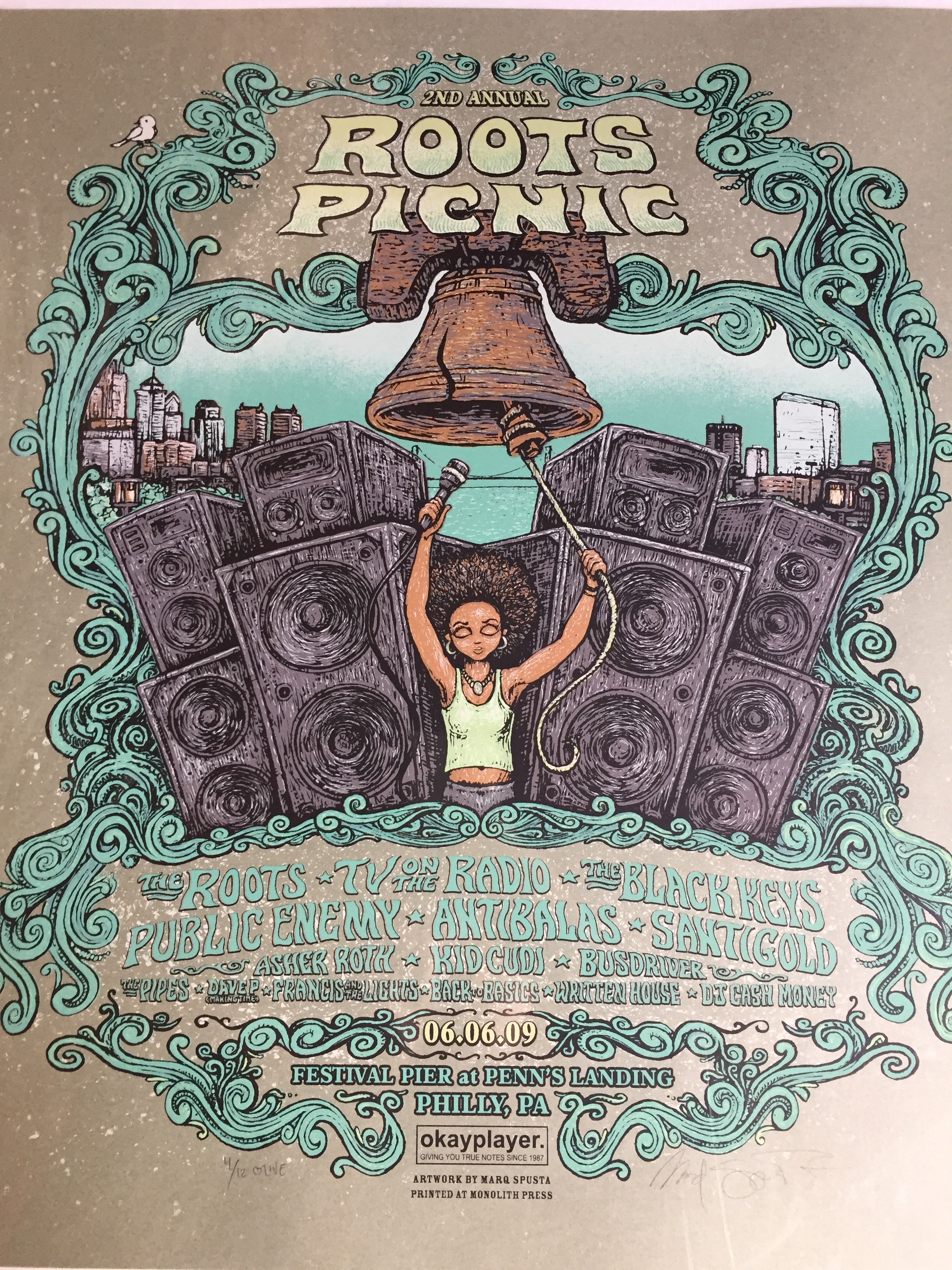 """2009 The Roots Picnic 20"""" x 24""""** THIS HAS A SMALL INK MARK ON LOWER RIGHT CORNER"""